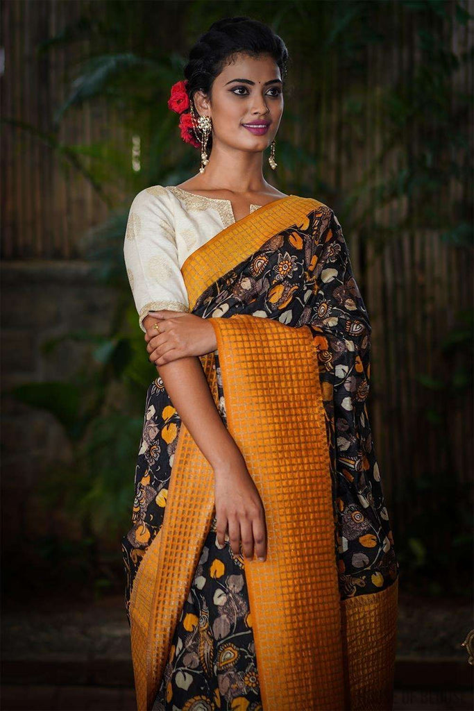 Black and yellow Kalamkari silk cotton saree with zari motifs and checked zari border - House of Blouse