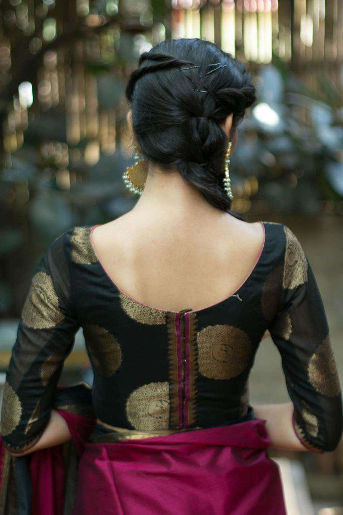 Black chanderi boatneck blouse with gold zari motifs - House of Blouse