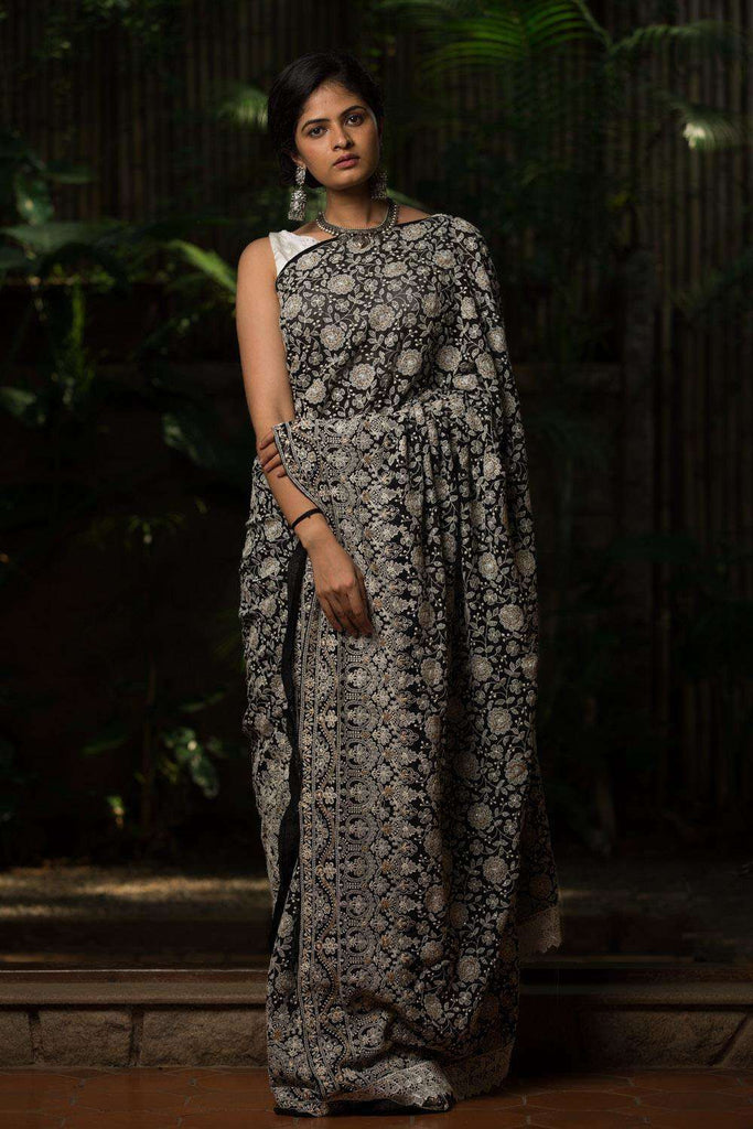Black chikankari inspired georgette saree - House of Blouse