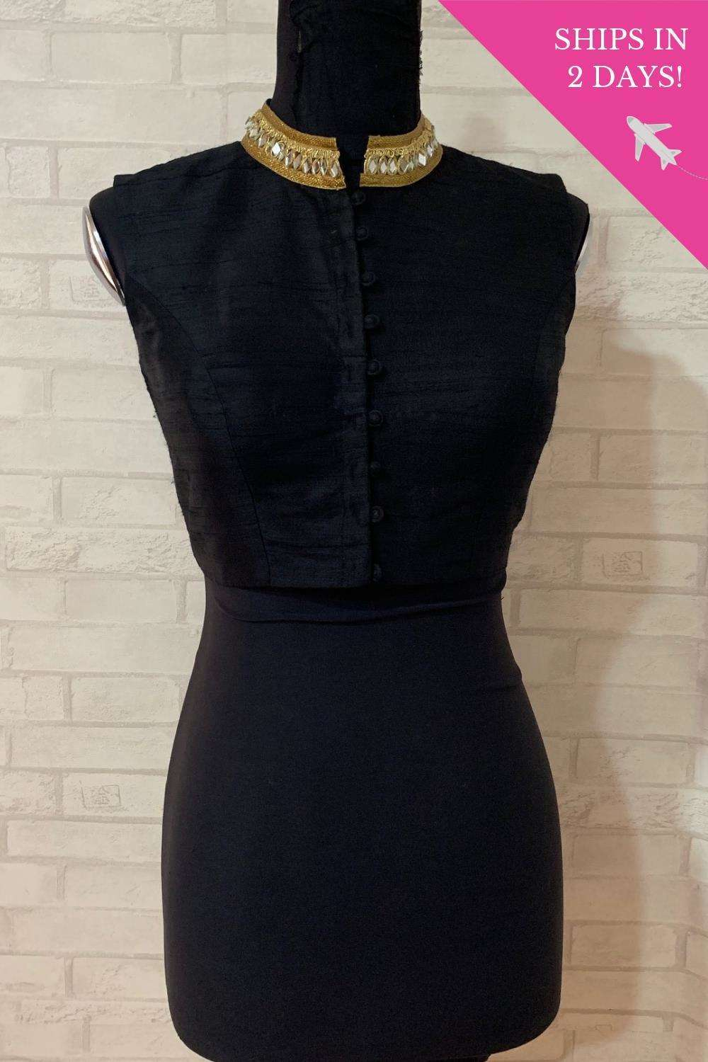 Black chinese collar blouse; Size: 38