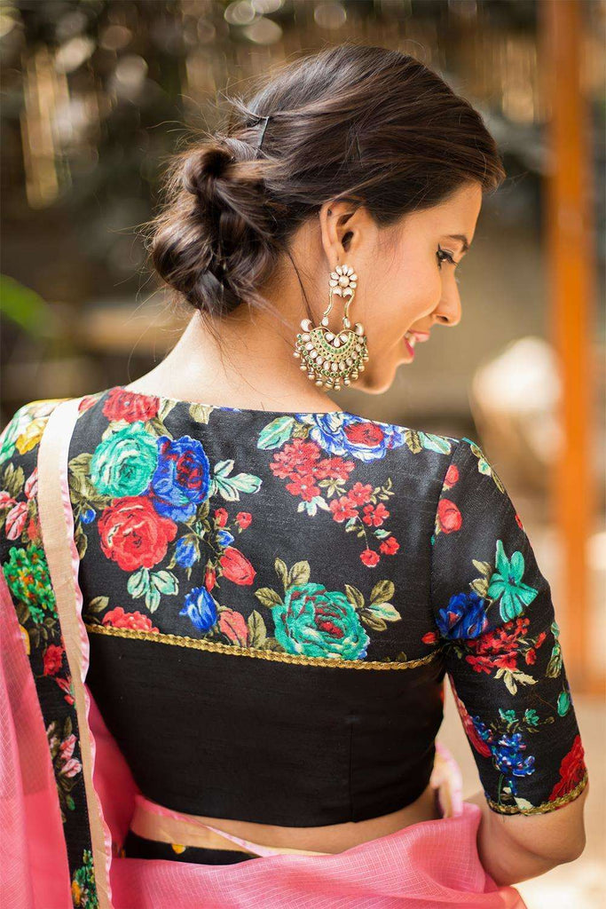 Black floral blouse with yoke detailing