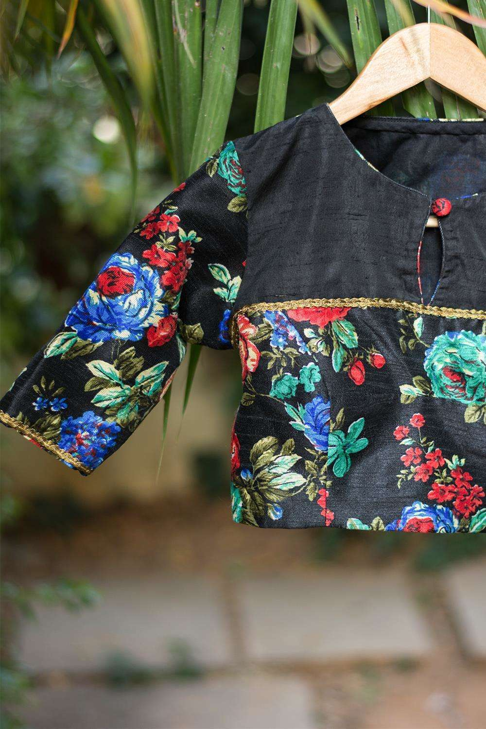 Black floral blouse with yoke detailing - House of Blouse