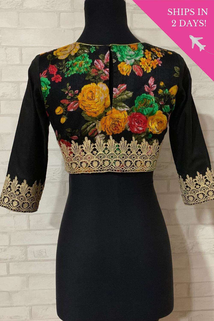 Black floral U neck blouse with lace detailing; Size: 34 - House of Blouse