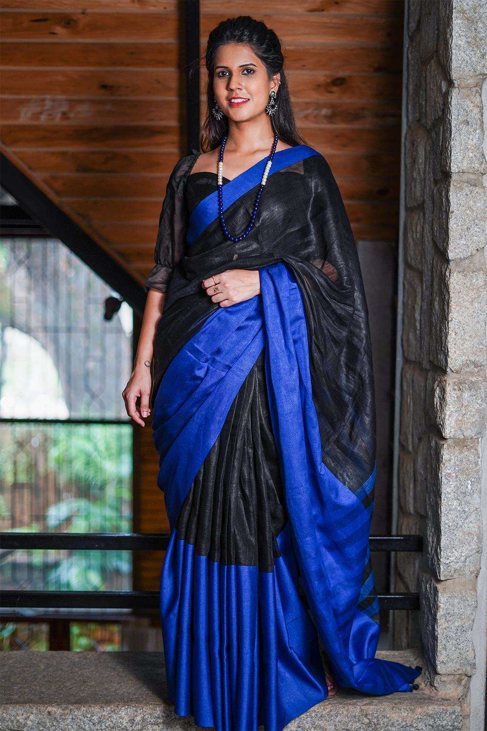Black handloom linen saree with royal blue border