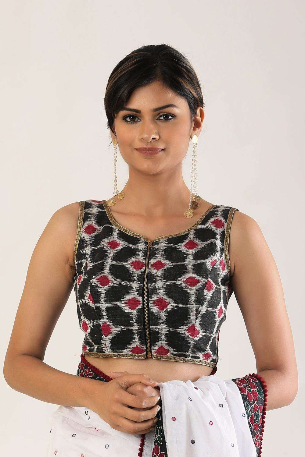 Black Ikat sleeveless blouse with zip detailing - House of Blouse