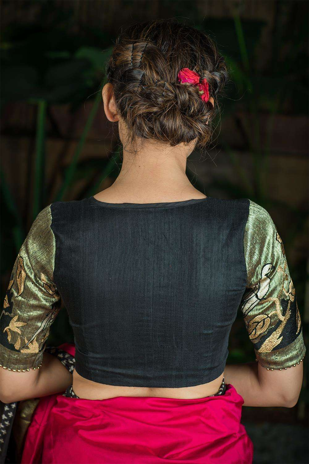 Black jute net blouse with embroidered parrots on sleeves - House of Blouse