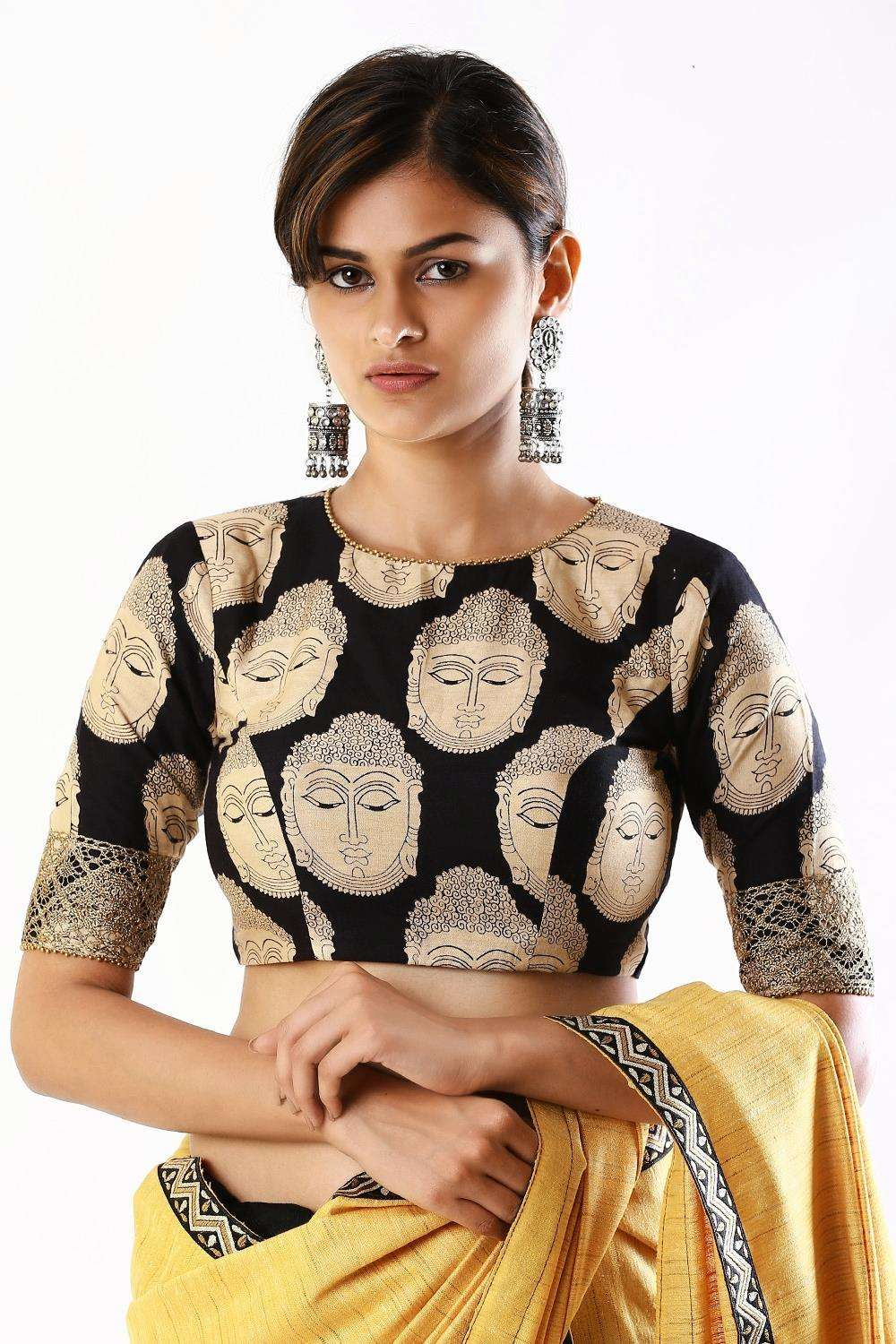 Black kalamkari printed semi crepe closed neck blouse with tie back