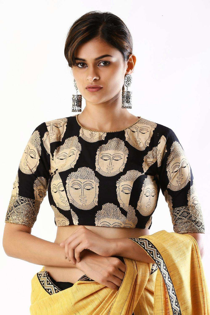 Black kalamkari printed semi crepe closed neck blouse with tie back - House of Blouse