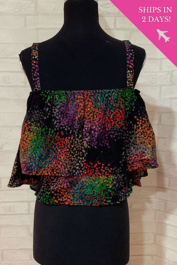 Black printed off shoulder strappy crop top; Size: 34 - House of Blouse