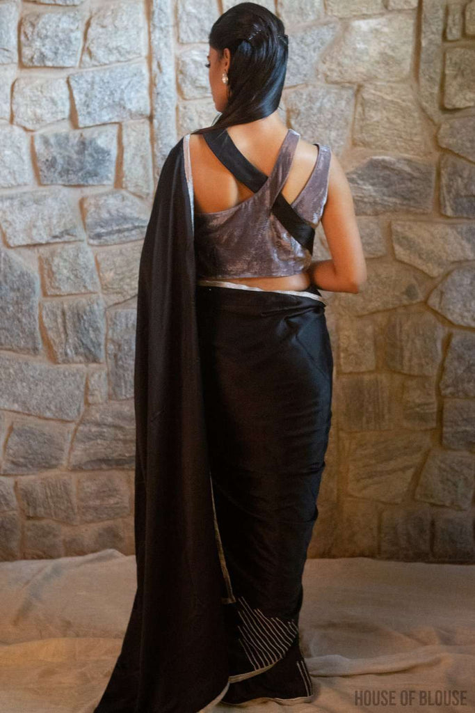 Black pure silk satin saree with silver bead and sequin embroidery and silver tissue edging - House of Blouse