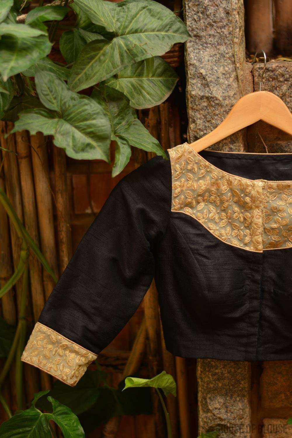 Black raw silk and gold embroidered blouse, with sheer yoke