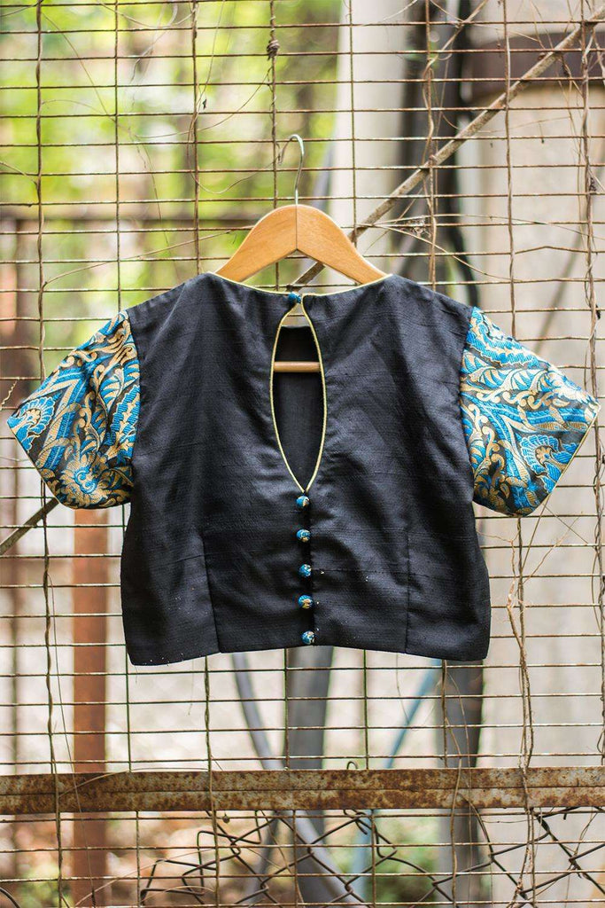 Black raw silk blouse with blue-gold brocade sleeves - House of Blouse