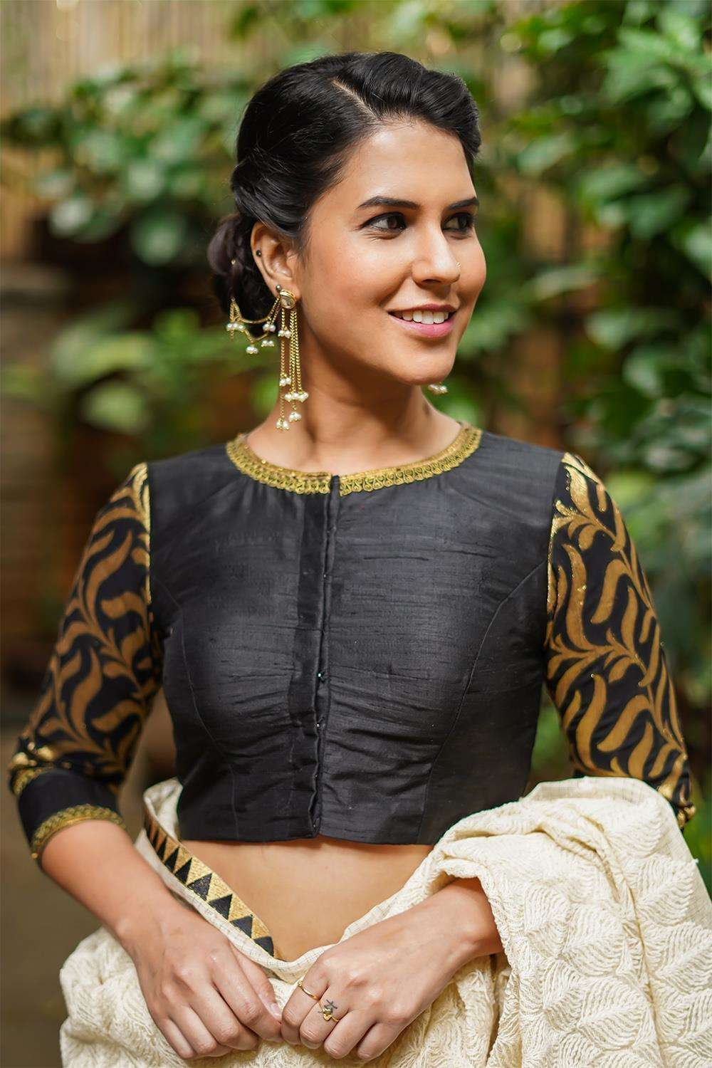 Black raw silk closed neck blouse with brocade sleeves - House of Blouse