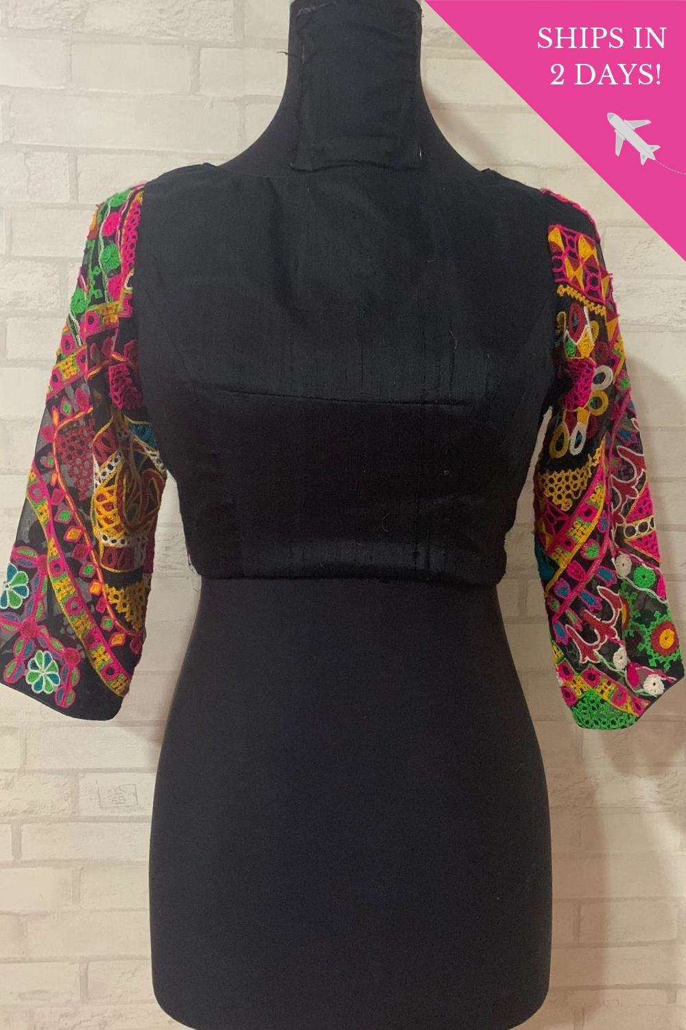 Black silk boatneck with kutchwork sleeves; Size: 40 - House of Blouse