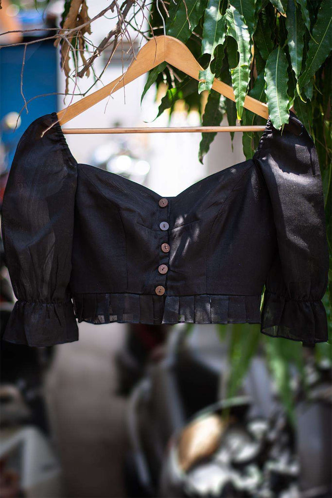 Black soft cotton blouse with chanderi gathered sleeves and frill detailing