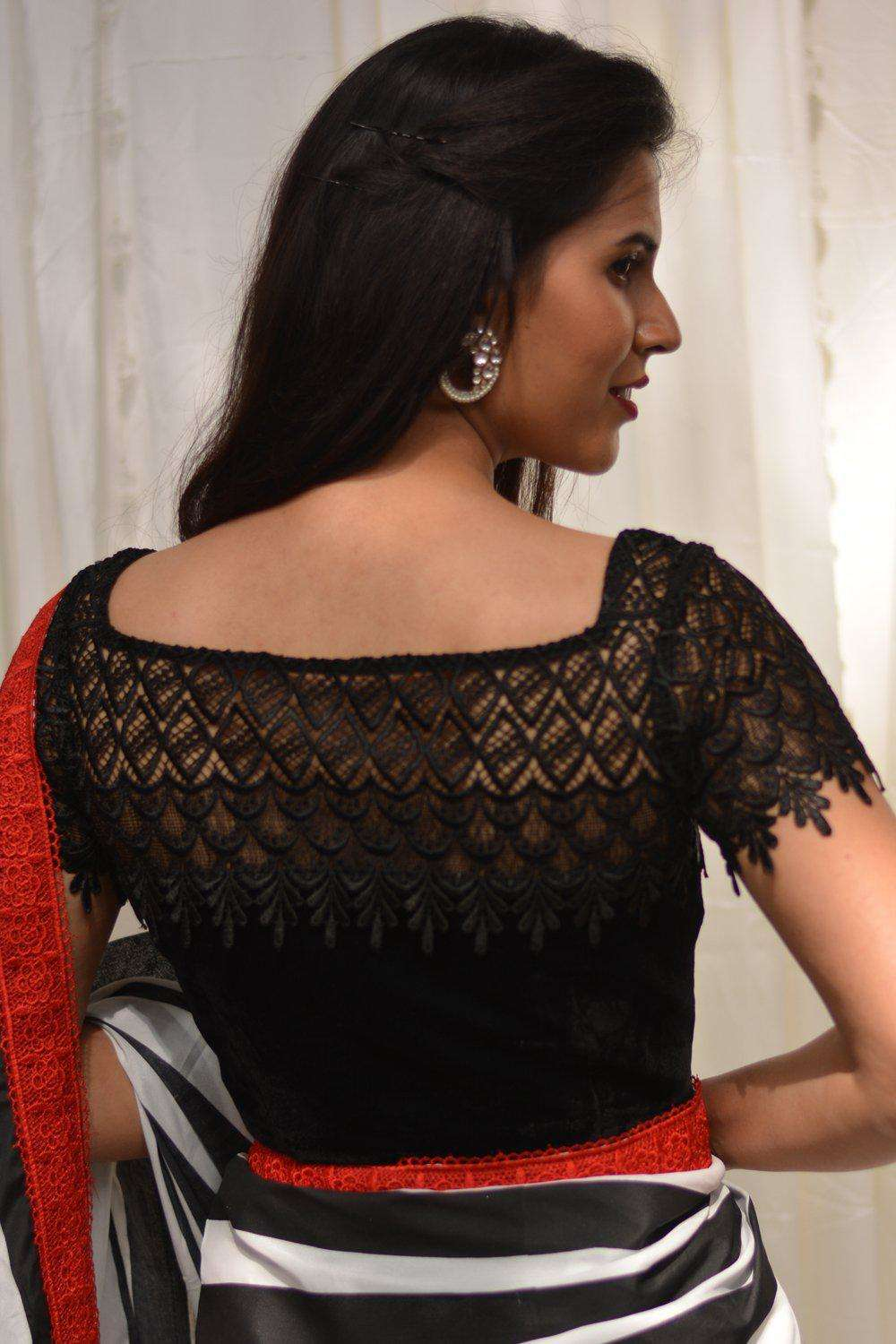 Black velvet and lace sheer yoke blouse
