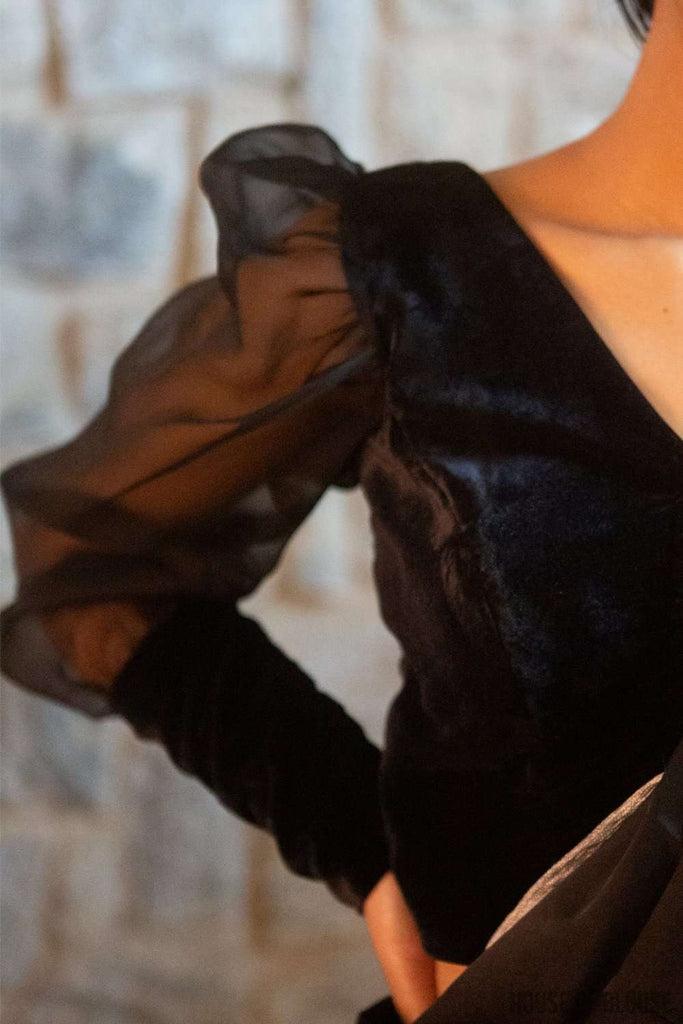 Black Velvet blouse with silk organza long puff sleeves and wide cuffs - House of Blouse