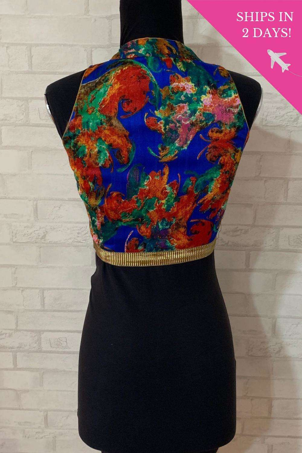 Blue abstract floral high neck blouse; Size: 34 - House of Blouse