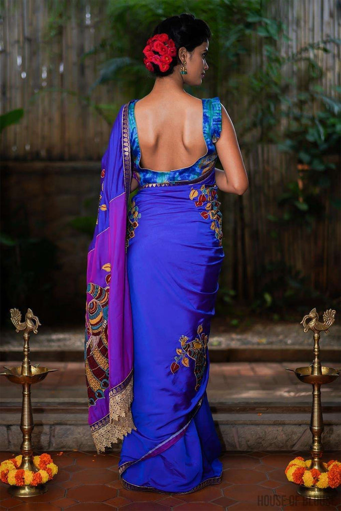 Blue and purple doubled shaded satin saree with handpainted kalamkari appliques - House of Blouse