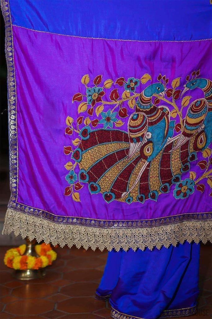 Blue and purple doubled shaded satin saree with handpainted kalamkari appliques