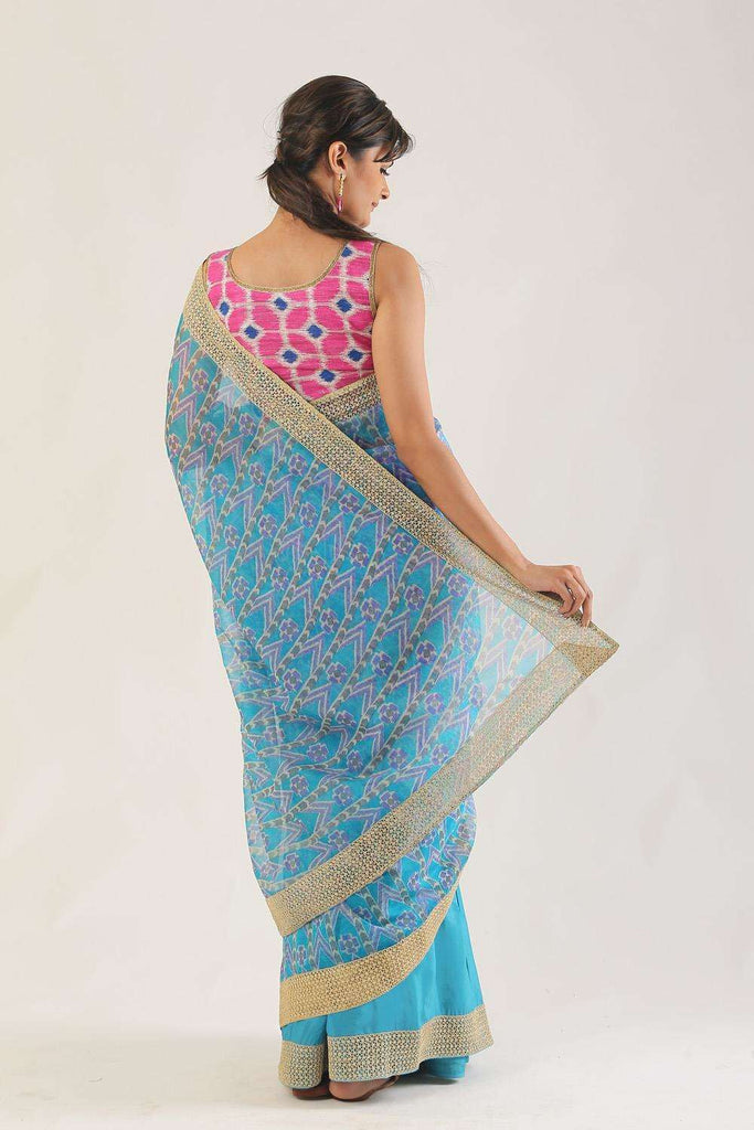 Blue and purple printed organza and shaded semi crepe half and half saree with gold crochet border - House of Blouse