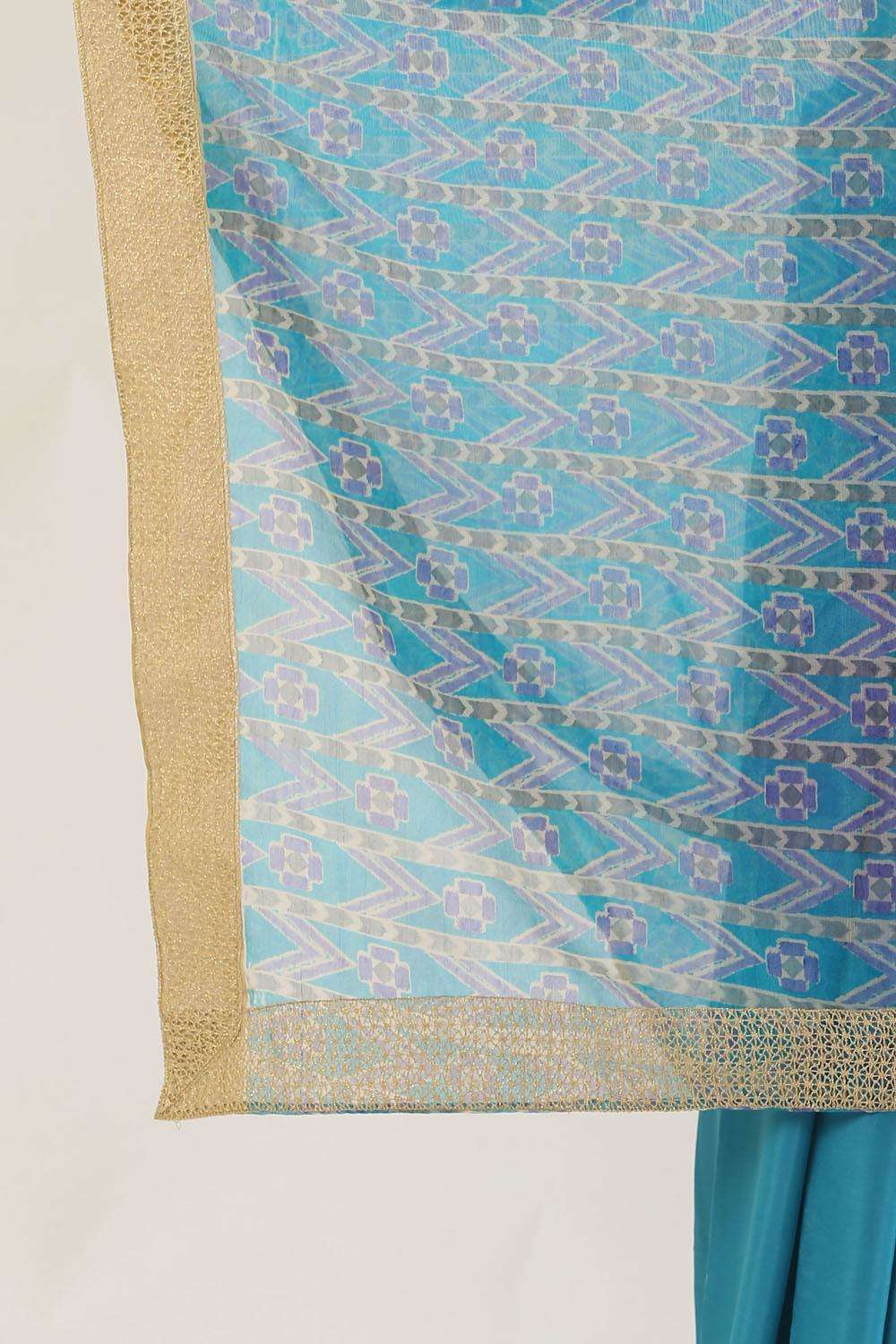 Blue and purple printed organza and shaded semi crepe half and half saree with gold crochet border