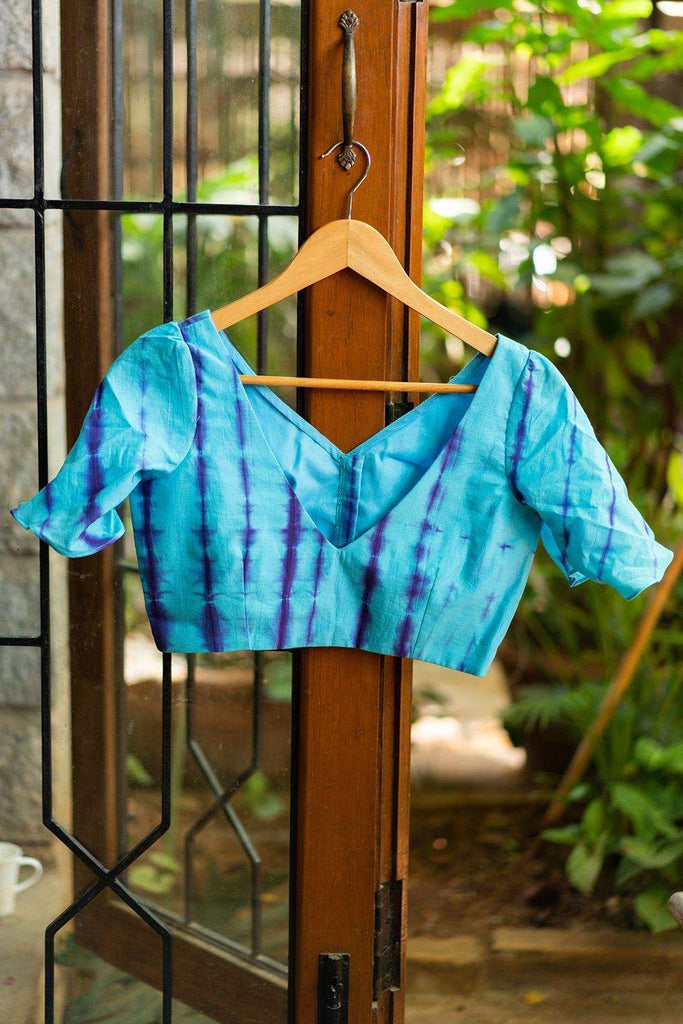 Blue and purple shibori dyed cotton V neck blouse with bell sleeves - House of Blouse