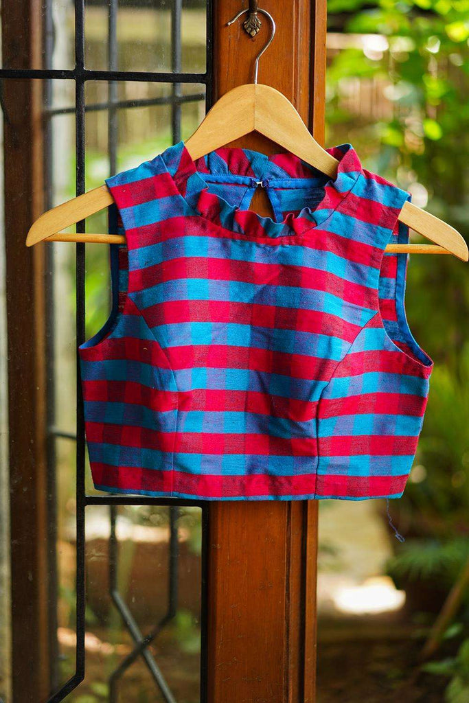 Blue and reddish pink checked cotton sleeveless blouse with a pleated frill collar - House of Blouse