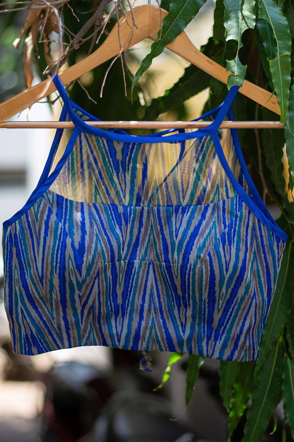 Blue geometric printed net halter blouse - House of Blouse