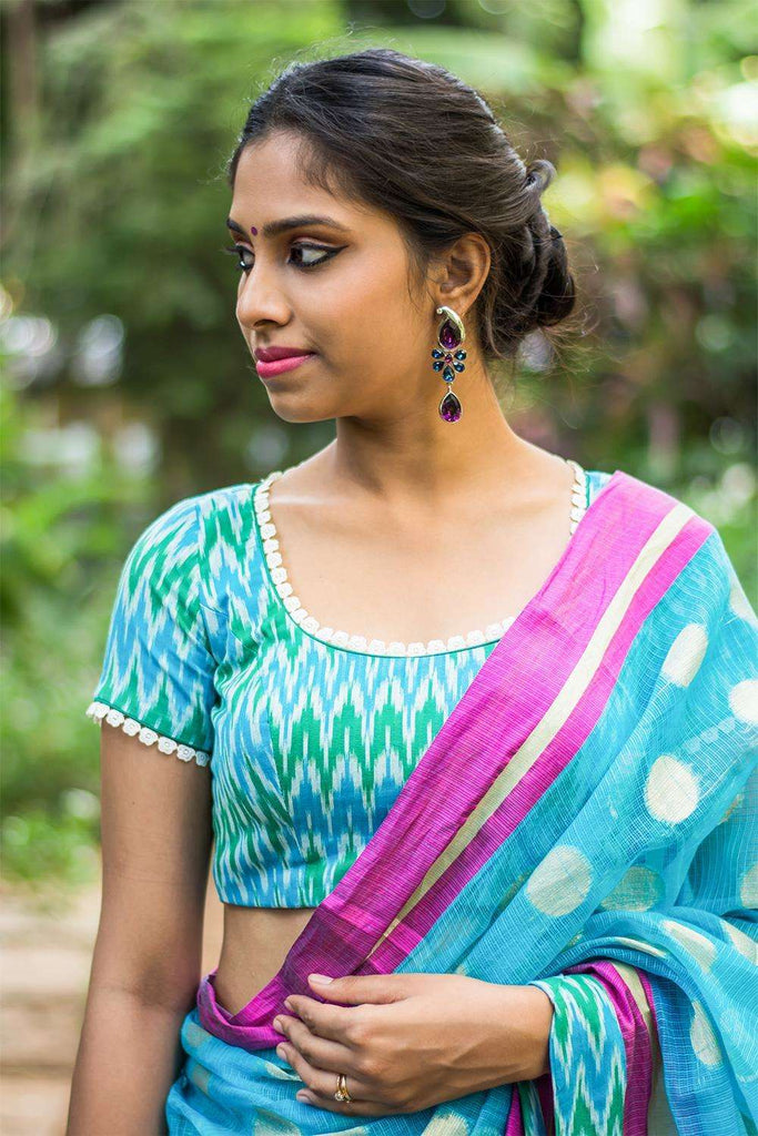 Blue green Ikat cotton sheer back blouse with applique - House of Blouse