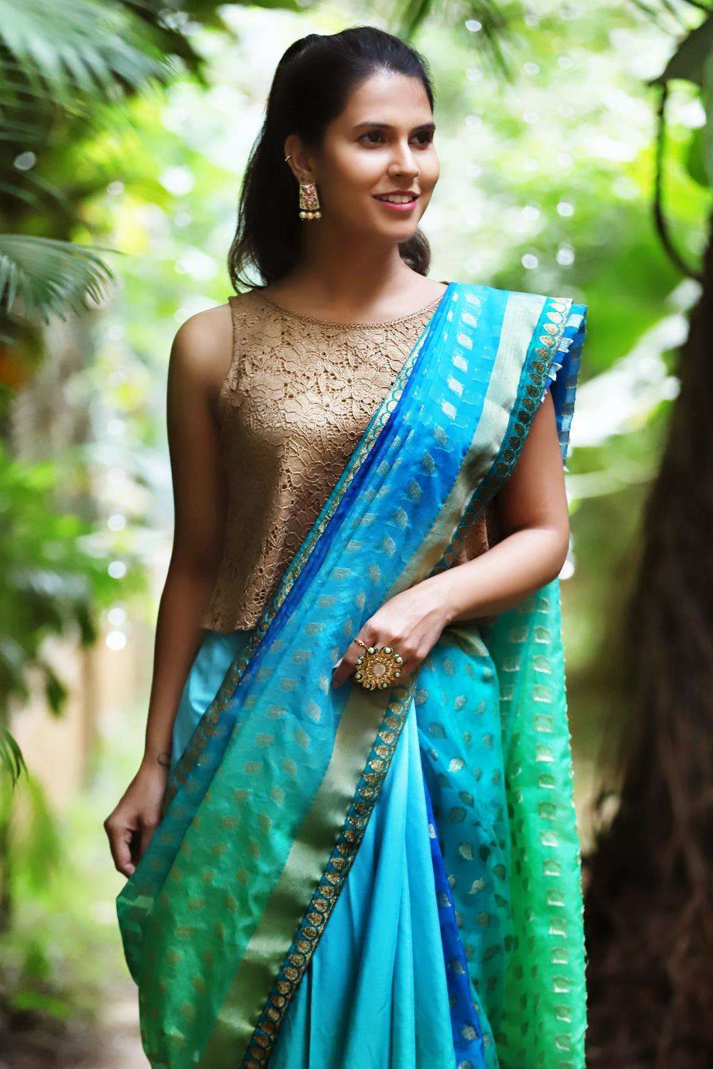 Blue-green shaded organza with zari motifs and satin crepe half and half saree - House of Blouse