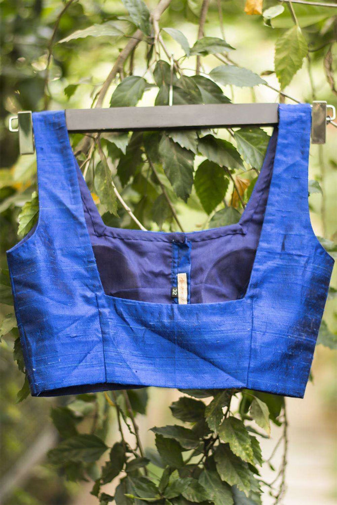 Blue raw silk square neck blouse - House of Blouse
