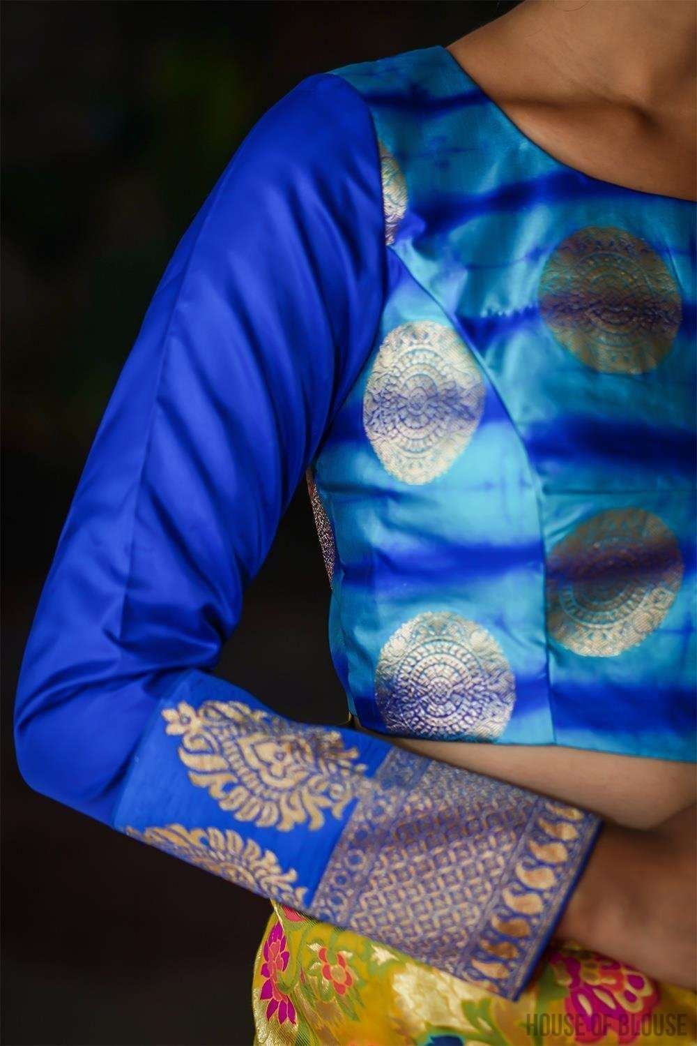 Blue shibori shaded brocade full sleeve blouse