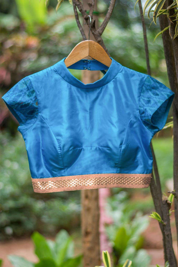 Blue silk high neck blouse with back detailing - House of Blouse
