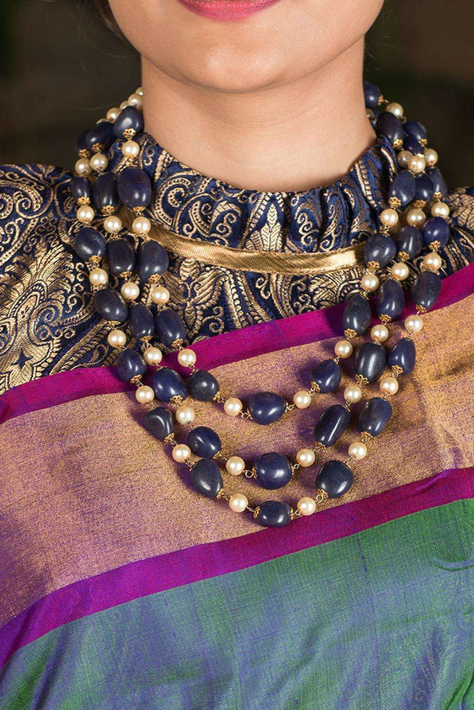 Blue Tumble and Pearls Necklace - House of Blouse