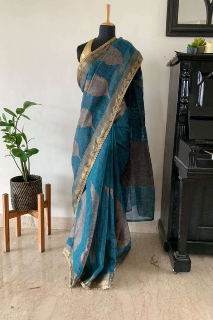 Bluish green Banaras jute saree with zari border and gold lace edging - House of Blouse