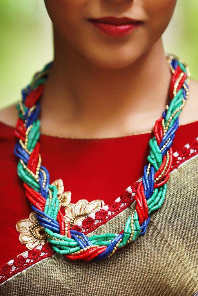 Braided Multicoloured Necklace - House of Blouse