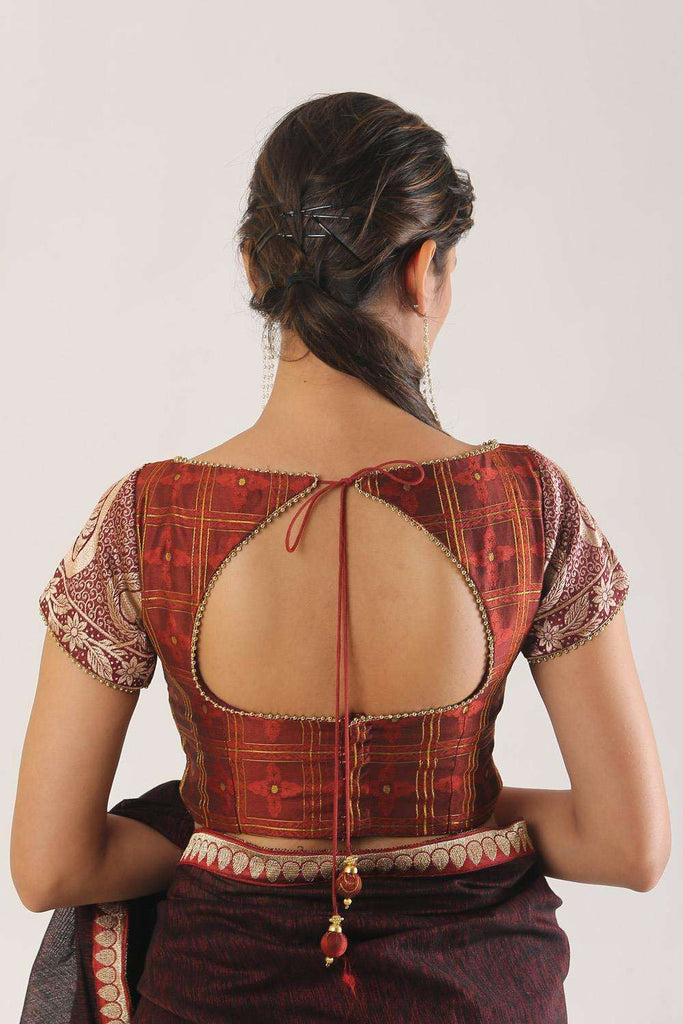 Brown cotton brocade boatneck blouse - House of Blouse