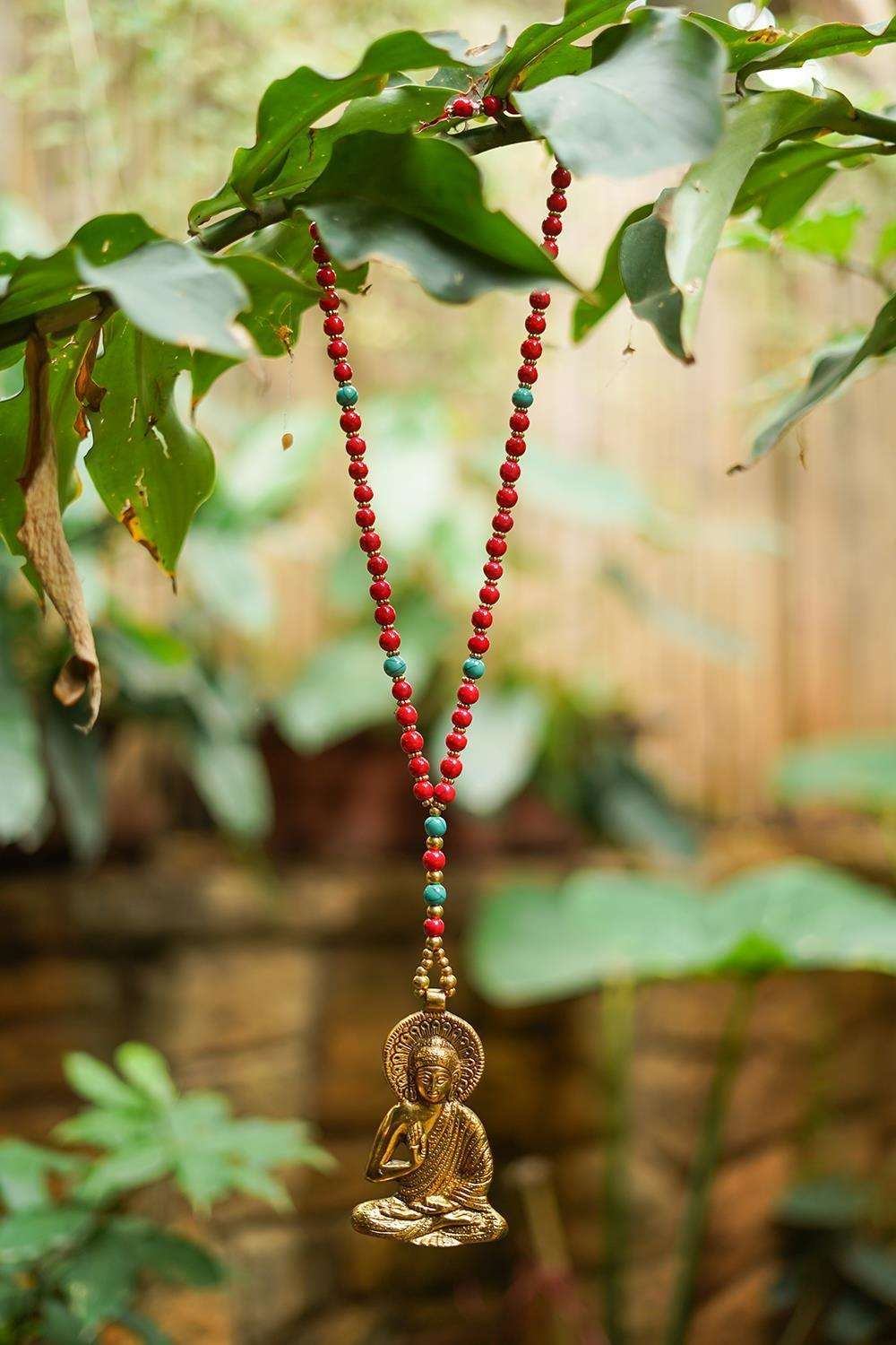 Buddha red Beads Tibetean Pendant Necklace