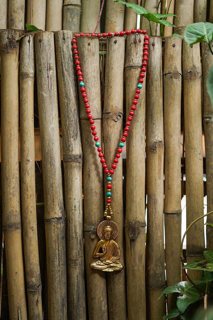 Buddha red Beads Tibetean Pendant Necklace - House of Blouse