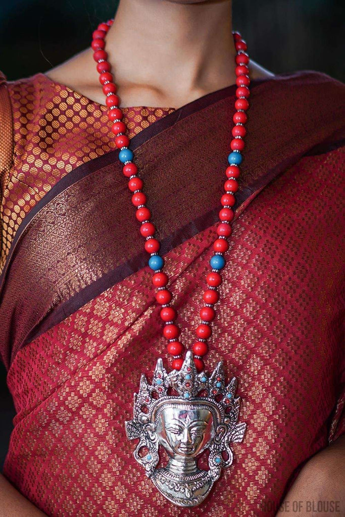 Buddha Tibetan Red Beads Pendant Necklace