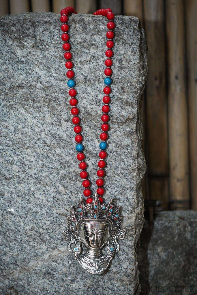 Buddha Tibetan Red Beads Pendant Necklace - House of Blouse