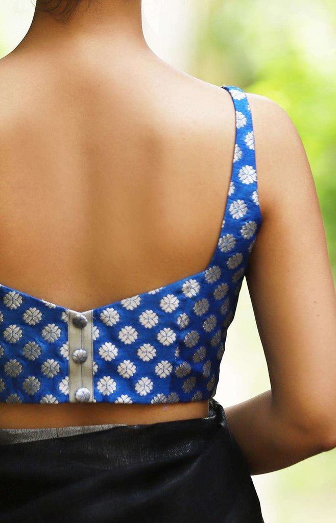 Cobalt blue brocade sleeveless blouse with silver motifs - House of Blouse