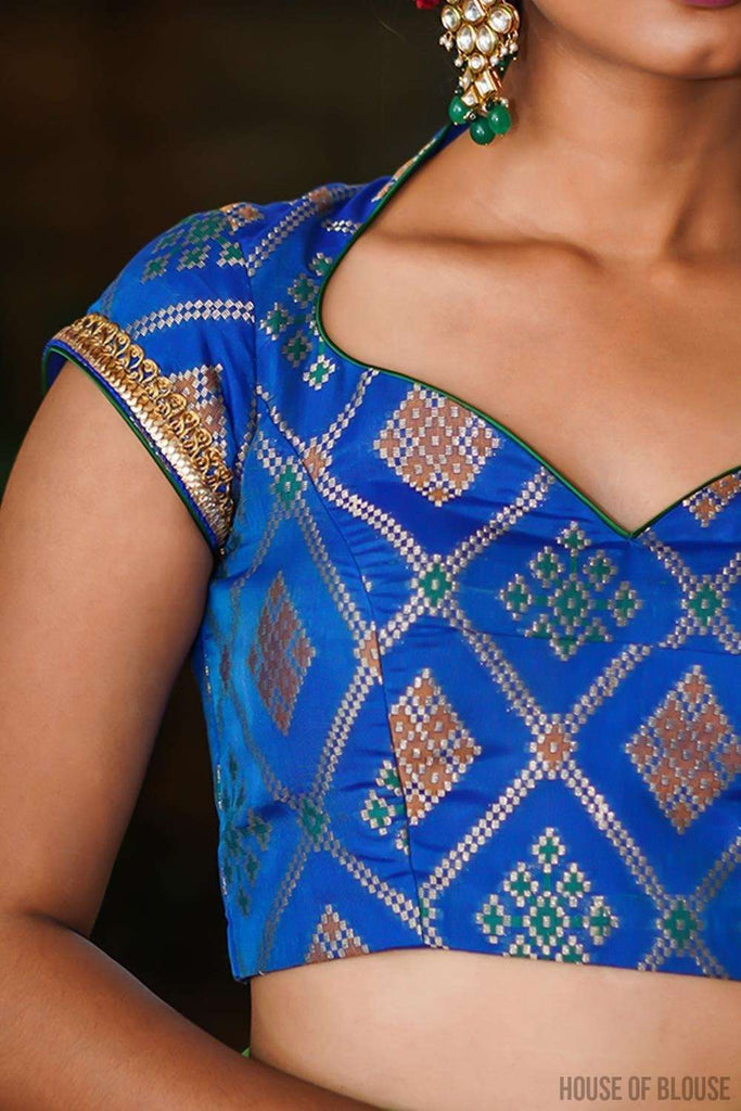 Cobalt blue multicolour brocade sweetheart neck blouse with border detailing - House of Blouse