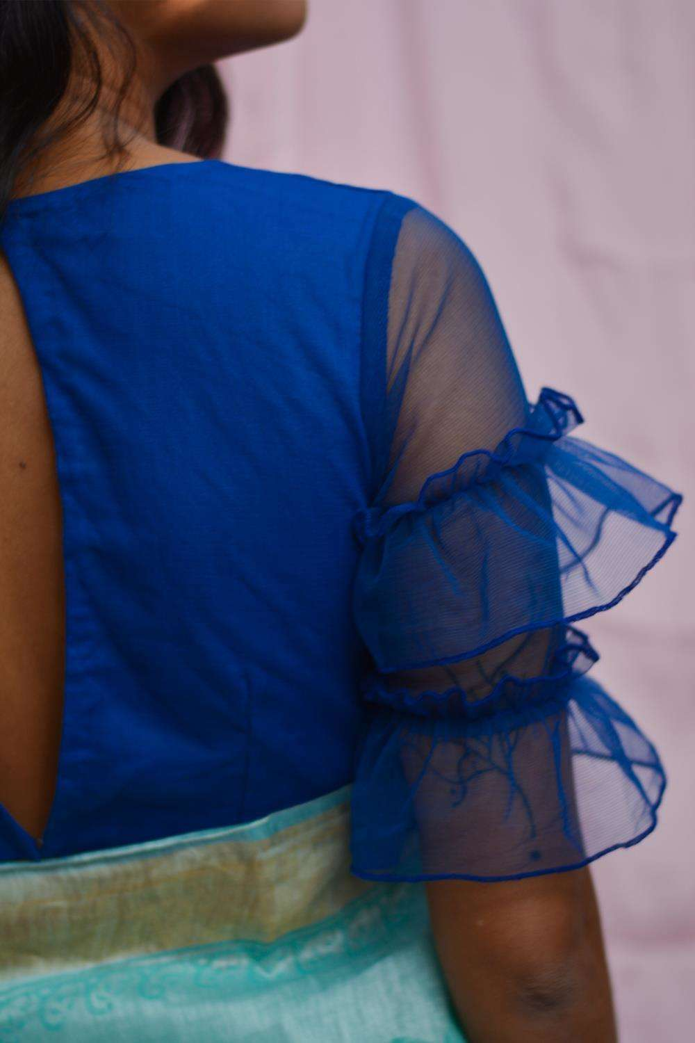 Cobalt blue net blouse with ruffles on sleeves