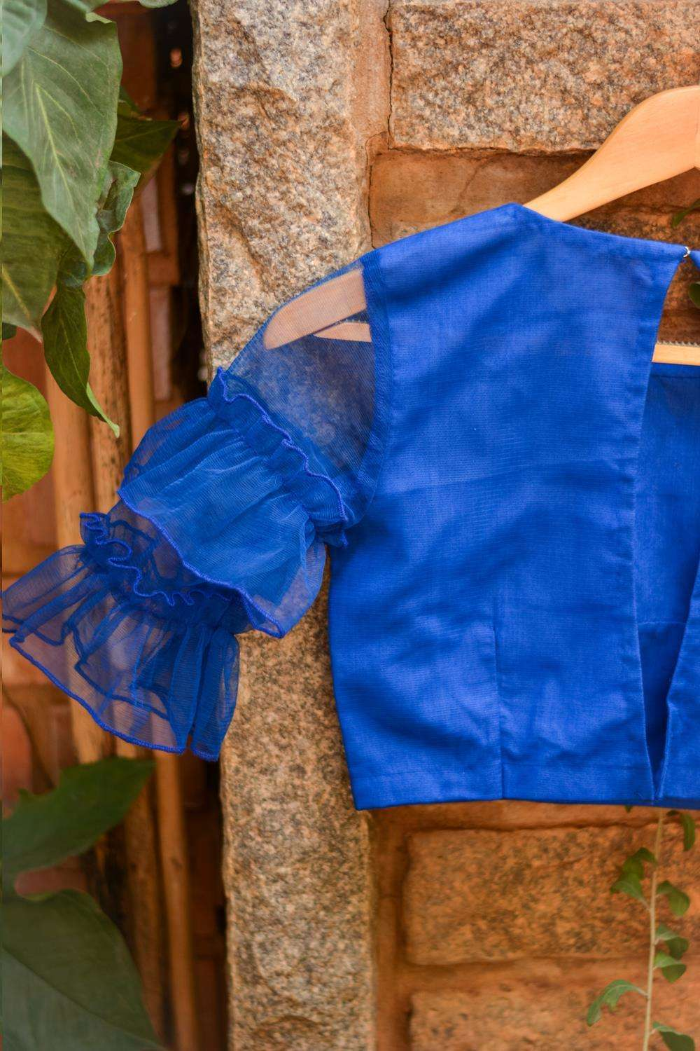Cobalt blue net blouse with ruffles on sleeves - House of Blouse