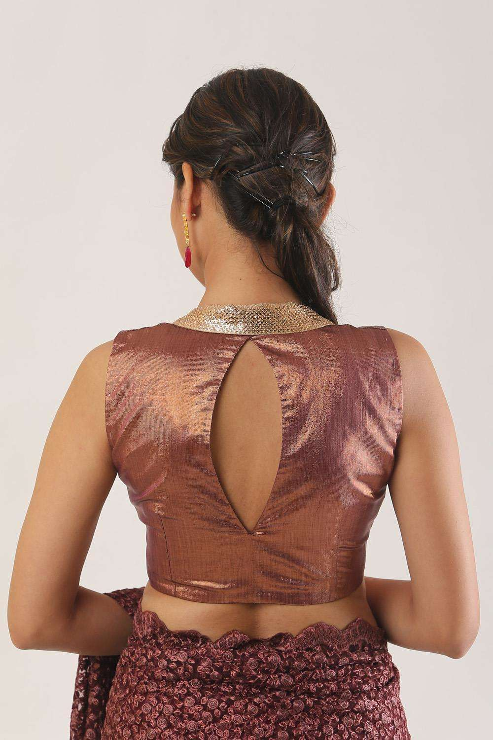 Copper shimmer tissue sleeveless blouse - House of Blouse