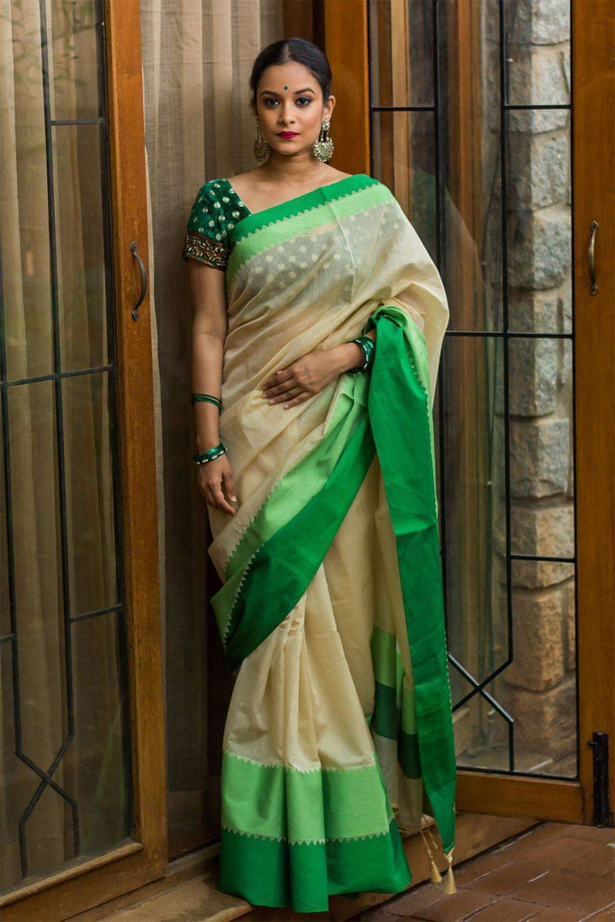 Cotton Kota saree with green borders - House of Blouse