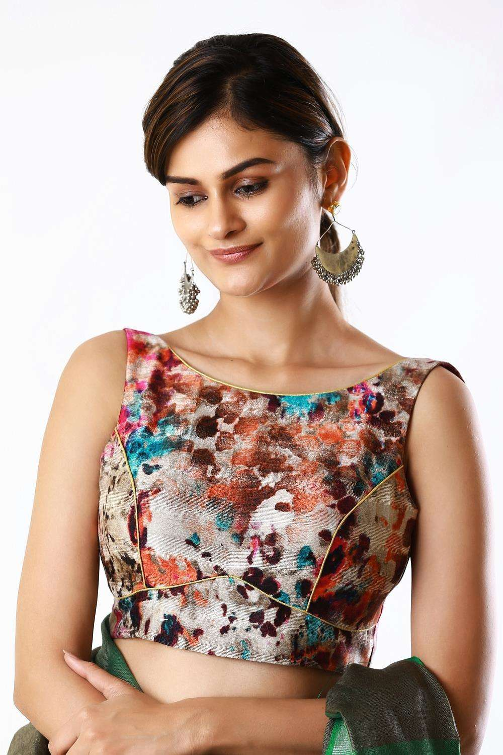 Cream and multicolour abstract printed raw silk boatneck sleeveless blouse - House of Blouse