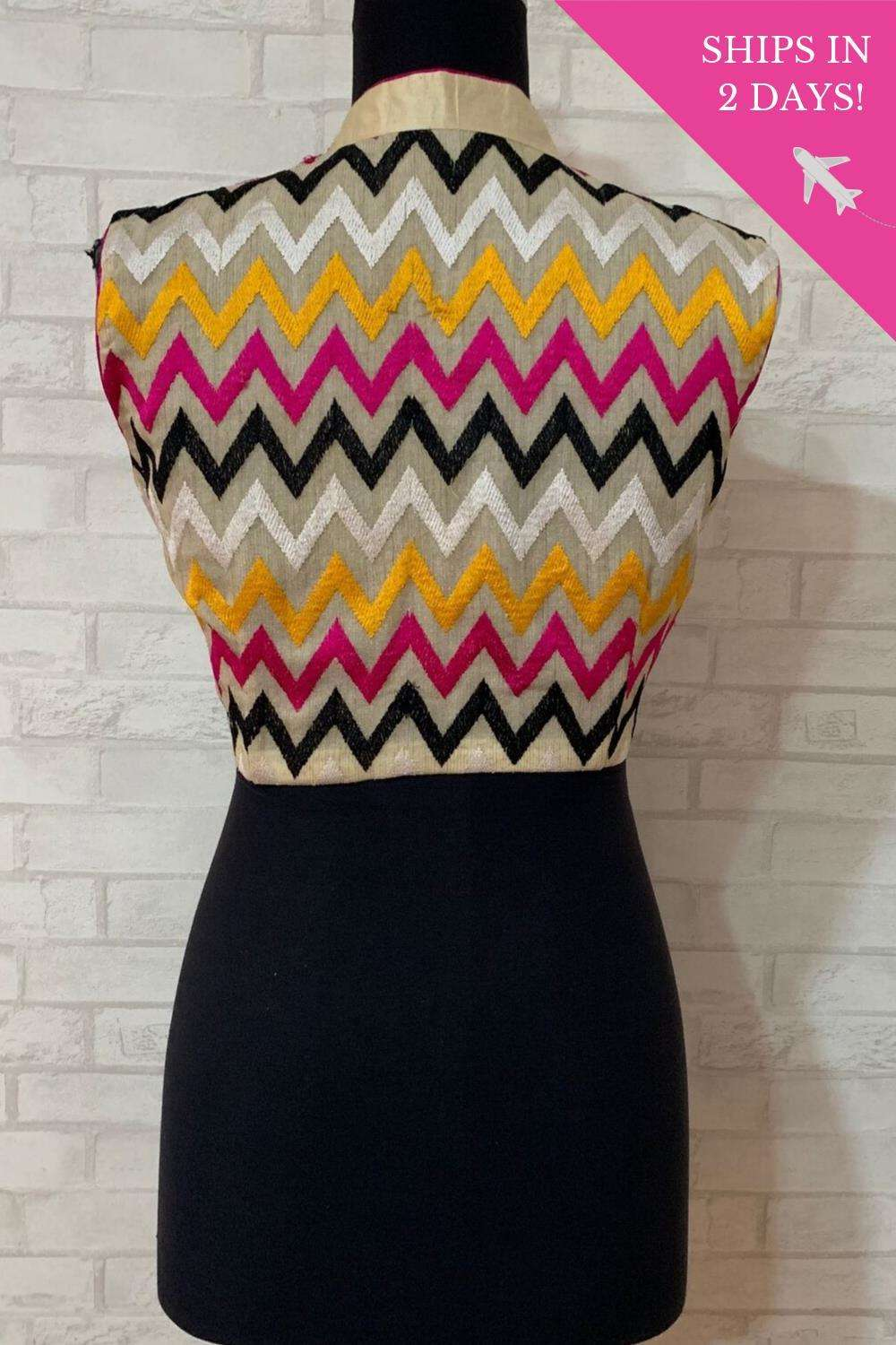 Cream and multicolour chevron threadwork chinese collar blouse; Size: 40 - House of Blouse